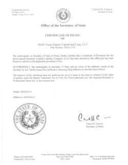 Certificate of Filing