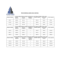 Our Fee Schedule
