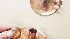 Copper Hammered Candle Holder
