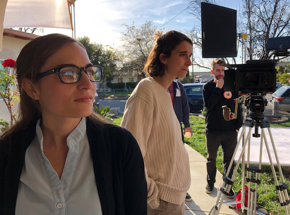 Connie Jo and Clare on set of Celia