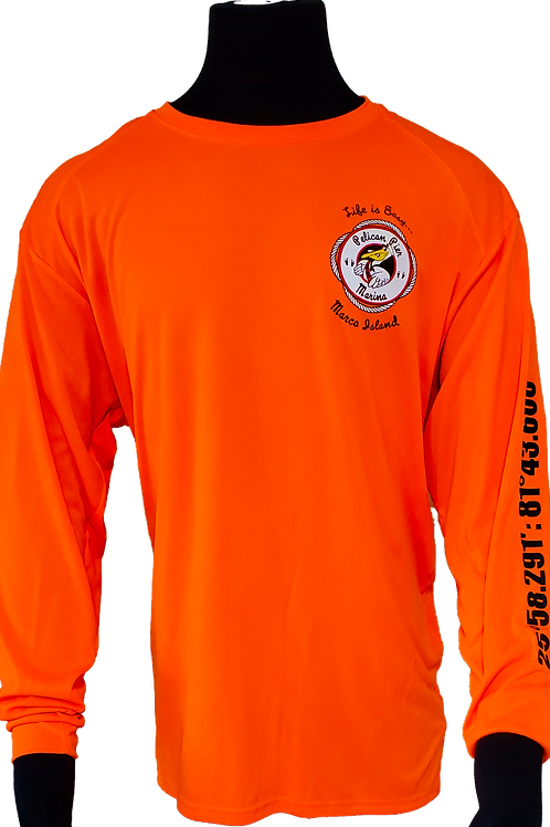 Men's Construction Orange Performance Moisture Wicking Long-Sleeve T-Shirt