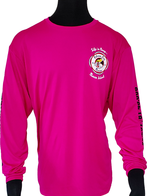 Men's Fuchsia Performance Moisture Wicking Long Sleeve T-Shirt