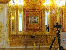 Filming inside the Amber Room in the Catherine's palace