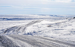 Polar roads in winter in Yamal peninsula