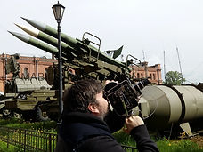 Filming at the artillery museum in Saint Petersburg
