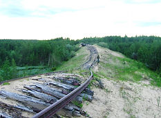 Dead abandoned railroad in Yamal peninsula