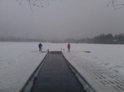 filming winter swimming in russia