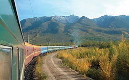 Trans-Siberian Train on the railway close to Ural mountains