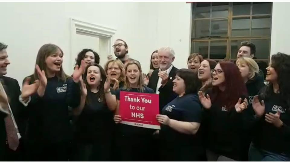 The National Health Singers joined by Jeremy Corbyn (Deborah Klayman is to his left)