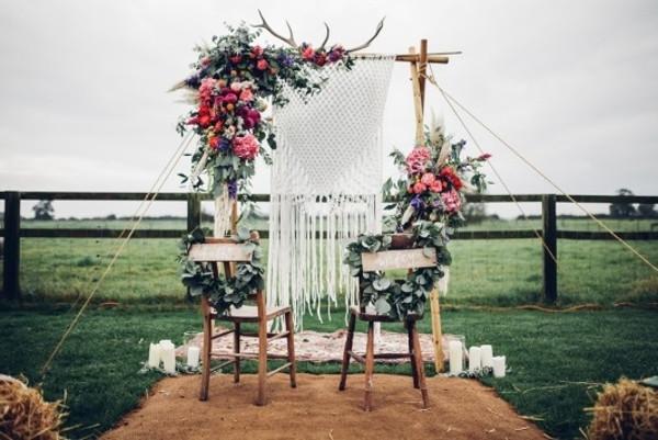 Bohemian Wedding Ceremony Setup