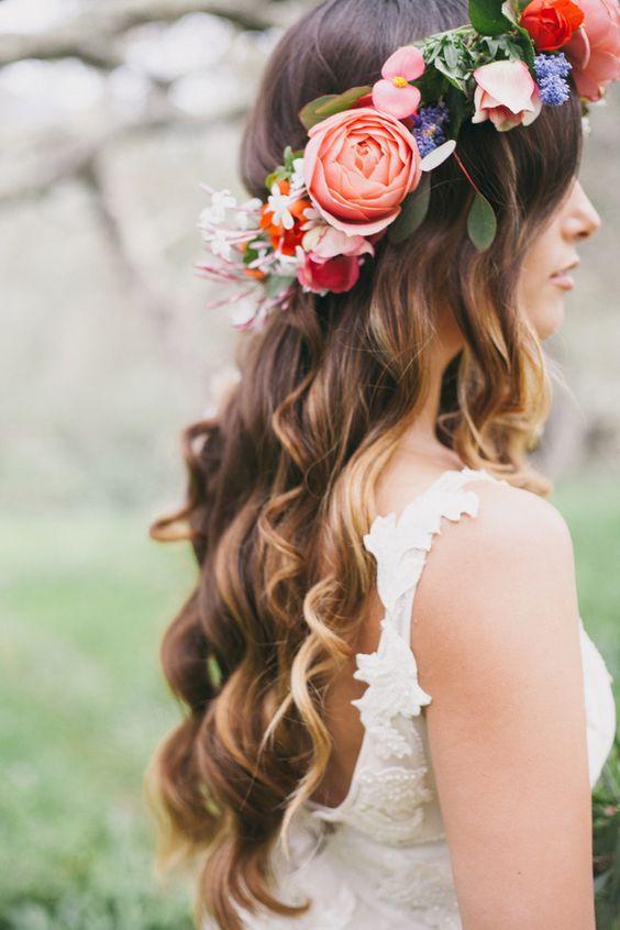 Boho Bridal Hairstyle Flower Crown