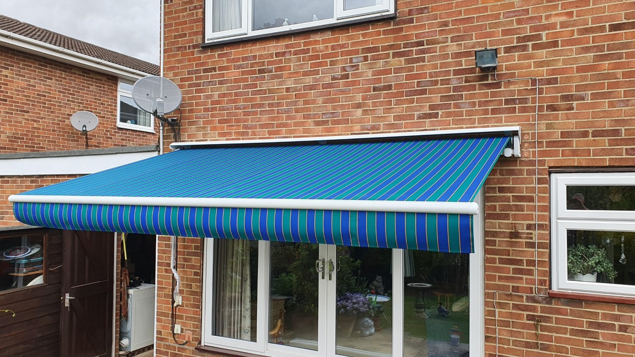 Striped garden awning