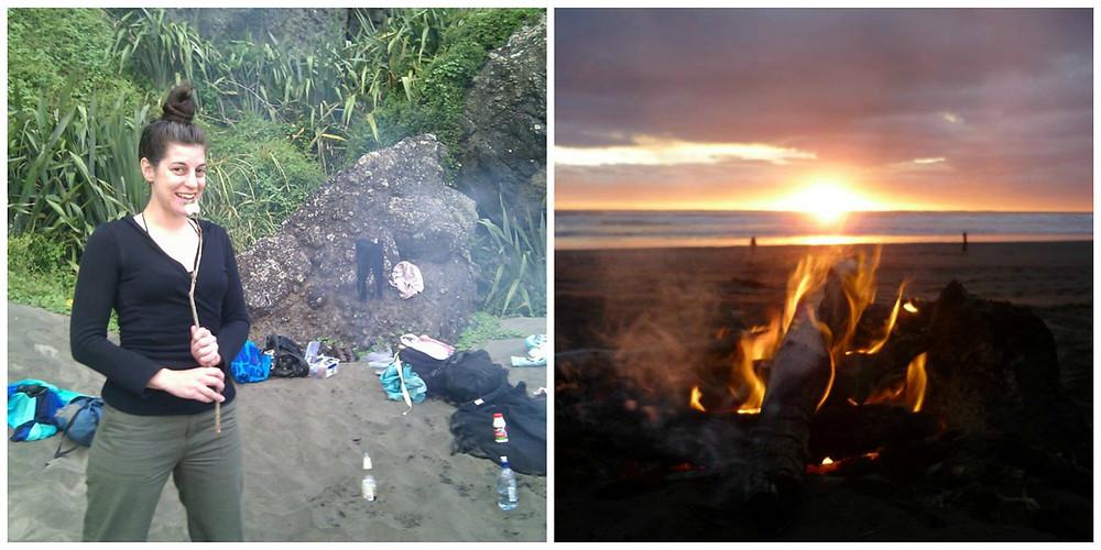 Camp fire New Zealand Beach