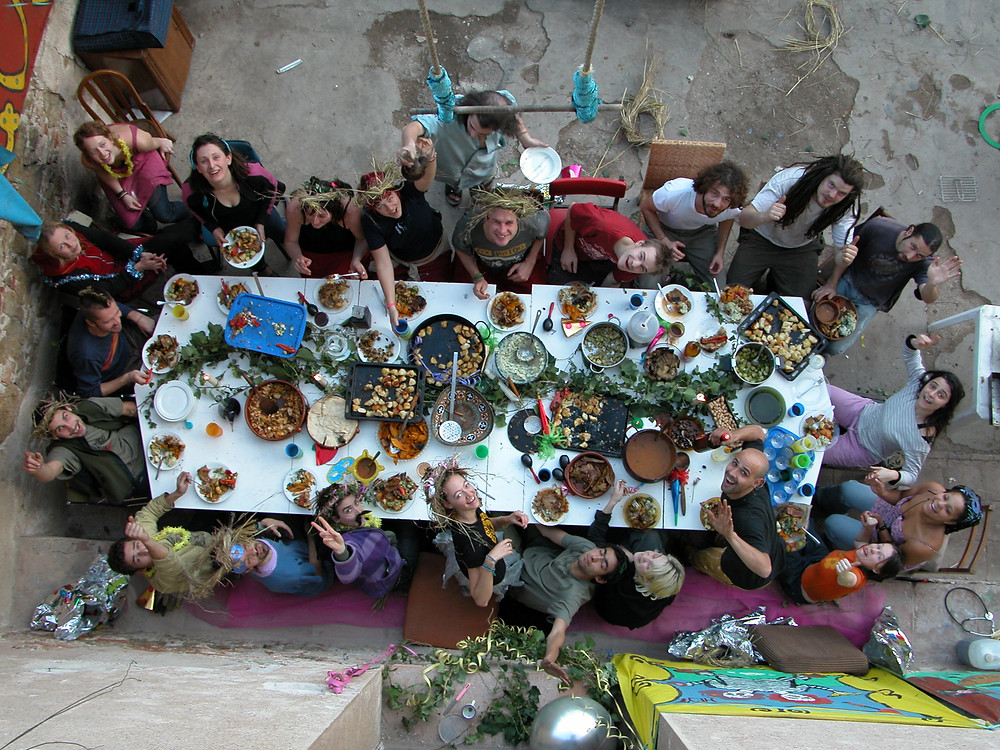 Travellers sharing a meal