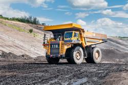 Big dump truck or Mining truck is mining