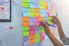 Web designer brainstorming for a strateg