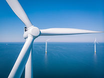 Wind turbine from aerial view, Drone vie