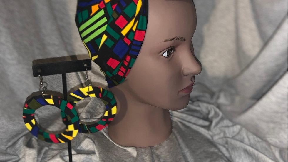 Multi Color Three Piece Head wrap/Mask/Earring Set