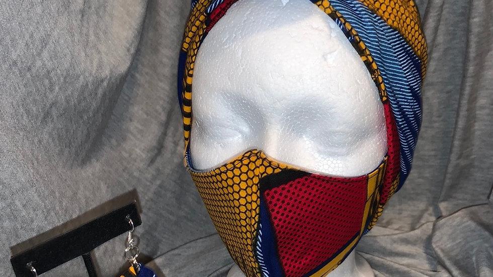 Head wrap/Face Mask/ Earring