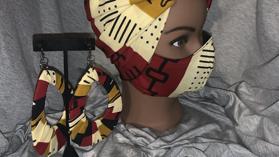 Head wrap/ Mask/Earring set