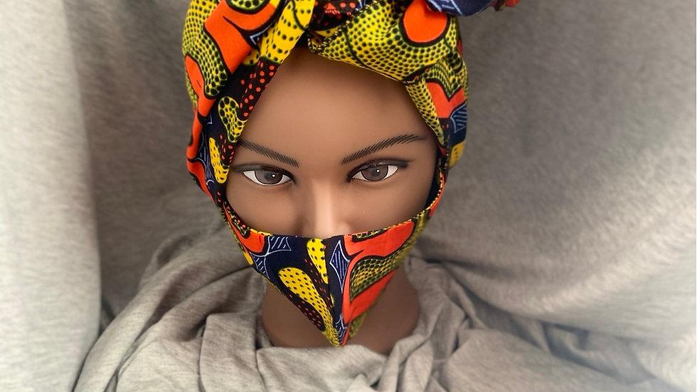Yellow Two Piece Head wrap / Mask Set