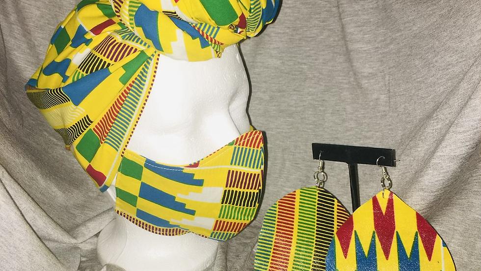 Yellow Kente Cloth Set w/Mask