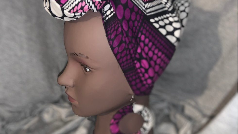 Purple and Pink Head wrap/ Mask/Earrings Set