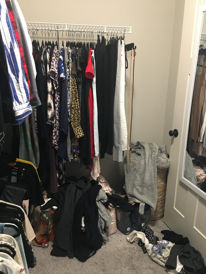 Closet Before KonMari Method Tidying