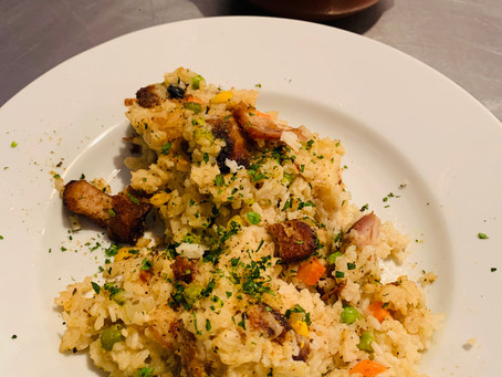 Farmer's Rice with Chicken and crispy Pork Belly, served with Zucchini Puree