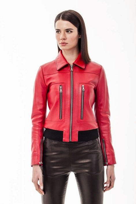 A Woman Wearing Red Color Leather Jacket