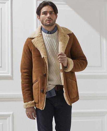 Men's Shearling Jacket | A Man Wearing Leather Jacket