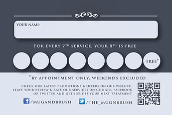 Loyalty card at The MUG & BRUSH Barber Shop Parsons Green, Fullham, SW6 London