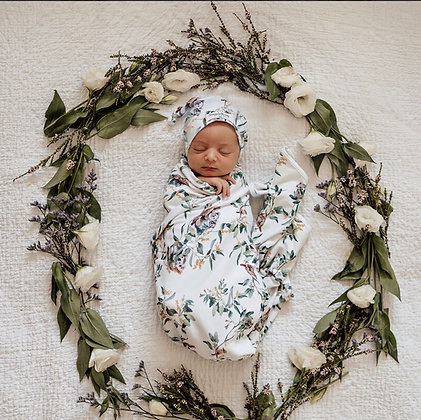 Snuggle Hunny Eucalypt jersey wrap & knotted beanie