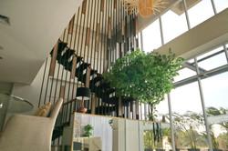 Lobby access to the upper floors via