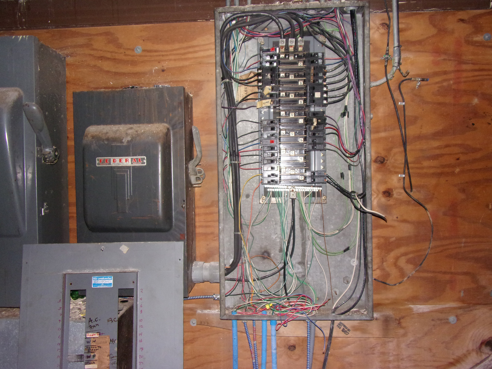 Old electrical panels on