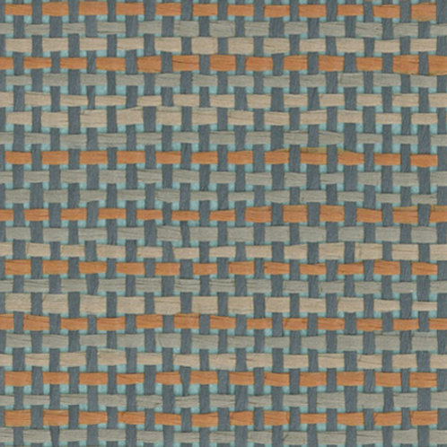 W611-35   SAGE BLUE ON ORANGE