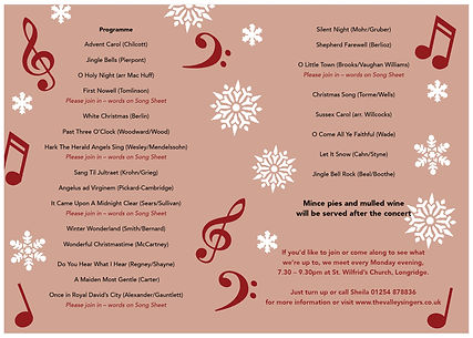 Valley Singers Christmas Carol Concert Programme, Music list, Event Description