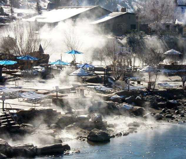 Winter Steam from the Springs Resort's hot springs pool