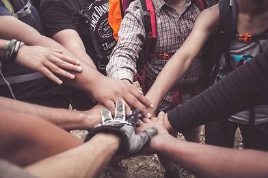 Community group hand cheer