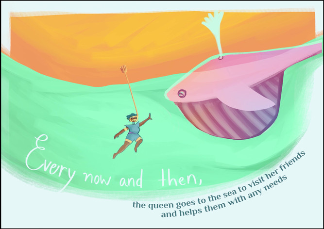 Every now and then the queen goes to the sea to visit her friends and help them with any needs.