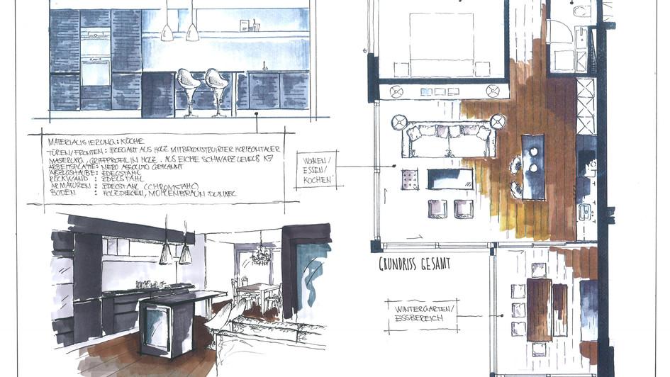 Wohn und Kochbereich in Oberwil