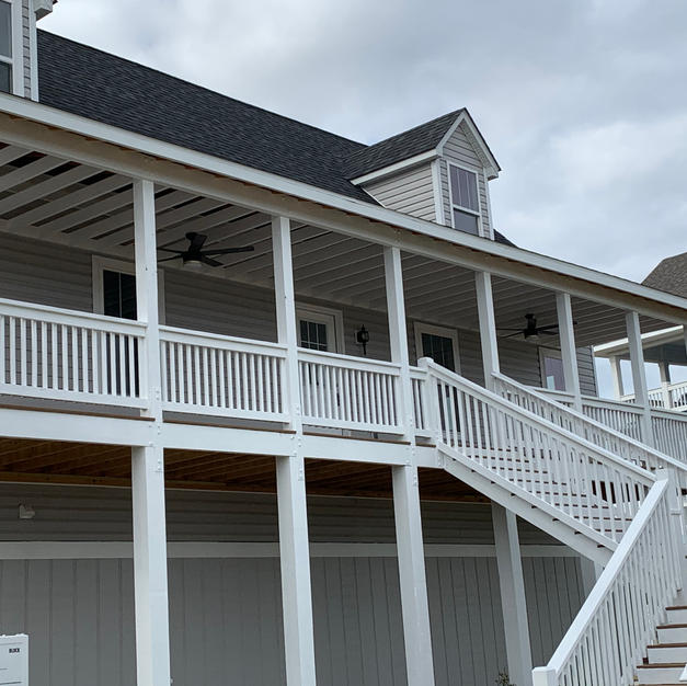 Covered porch with steps