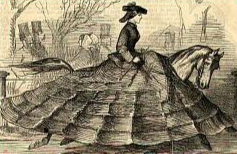 This 1855 illustration from Punch magazine parodies the growing width of skirts both in mainstream fashion and in riding habits.