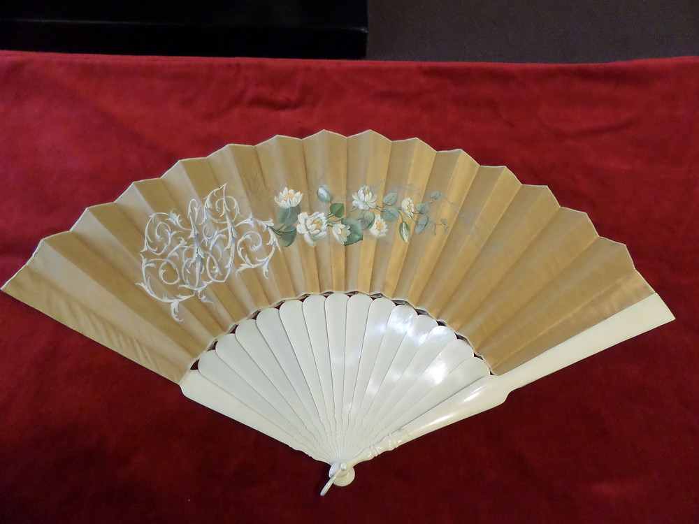 """17"""" long ivory guards, hand-painted silk; made by Tiffany & Co. 1840's-1870's; User's initials """"FJ"""""""