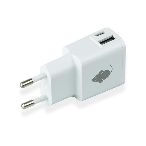 Dual USB & USB-C Laddare - Vit