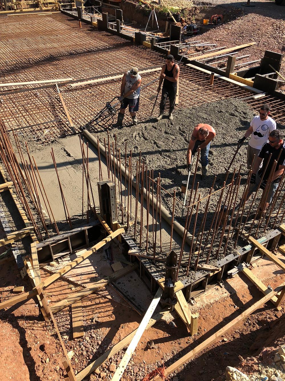Concrete raft foundation, Gamekeeper's Lodge, Stratford-upon-Avon