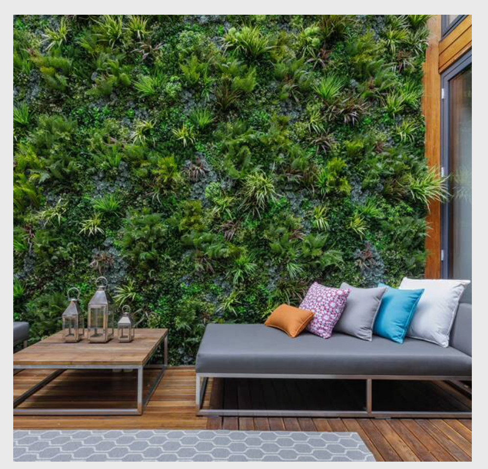 An artificial green wall is low maintenance