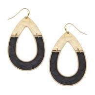 Harlow Teardrop Earrings - Black Leather