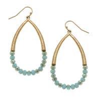Llona Teardrop Earrings - Aqua Glass