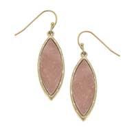 Marquis Druzy Drop Earrings - Pink